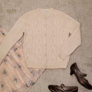 Vintage Cream Cable Knit Cardigan Sweater